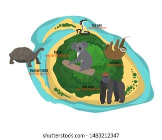 Cartoon tropical island in ocean with exotic animals vector illustration. Top view island sprite. Koala, king cobra, gorilla and turtle, sloth vanishing animals.
