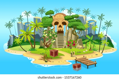 Cartoon tropical island with skull mountain cave with stairs, palm trees. mountains, blue ocean, flowers and vines. Vector illustration.