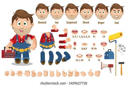 Cartoon trowel man, worker constructor for animation. Parts of body: legs, arms, face emotions, hands gestures, lips sync. Full length, front, three quater view. Set of ready to use poses, objects.