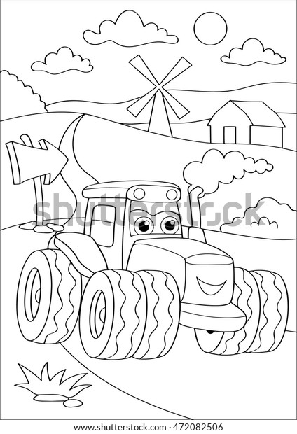 Cartoon Truck Car Village Coloring Page Stock Vector Royalty Free
