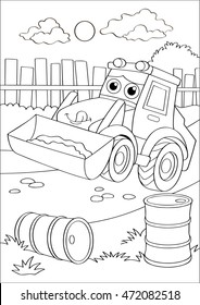 Cartoon truck car in village, forklift coloring page. Coloring book outdoor sport theme. Funny motor lorry isolated on white background. Vector illustration for children education.