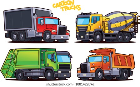Cartoon Trucks isolated on white background: Concrete truck, Tipper Truck, Garbage Truck