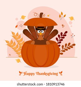 Cartoon Turkey Bird Wearing Pilgrim Hat Inside Pumpkin with Leaves and Wheat Ears on White Background for Happy Thanksgiving Celebration.