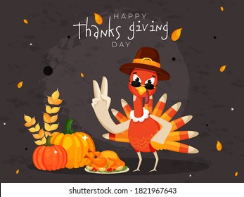 Cartoon Turkey Bird Wearing Pilgrim Hat with Food Elements and Leaves Falling on Grey Grunge Background for Happy Thanksgiving Day.