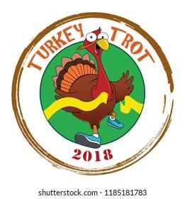 A cartoon turkey crosses the finish line.