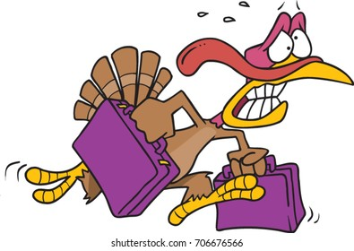cartoon turkey desperately running while carrying luggage in both hands