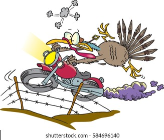 cartoon turkey escaping on a motorcycle