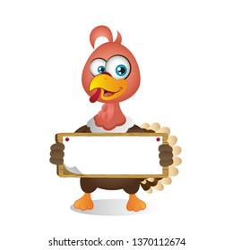 Cartoon Turkey holding Blank Sign with both hands