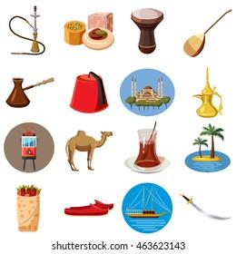 Cartoon Turkey icons set vector illustration