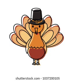 cartoon turkey with pilgrim hat icon over white background colorful design  vector illustration