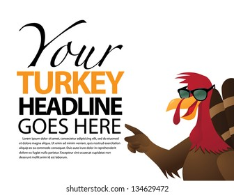 Cartoon Turkey points towards your message. EPS 8 vector, grouped for easy editing. No open shapes or paths.