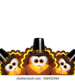 Cartoon turkeys in a pilgrim outfit.