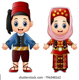 Cartoon Turkish couple wearing traditional costumes