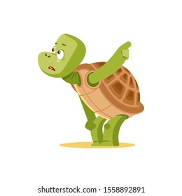 Cartoon turtle afraid. Scared tortoise talks about danger. Frightened, confused, puzzled, bewildered, discouraged, cowardly, terrified, emotions in the turtle. Isolated vector clipart illustration.