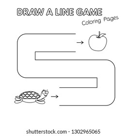 Cartoon turtle game for small children - draw a line. Vector coloring book pages for kids