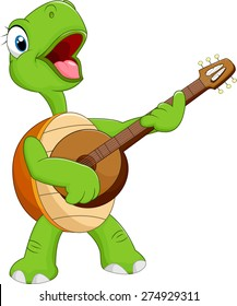 Cartoon turtle holding a guitar