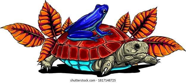 Cartoon turtle posing on leaves stump vector