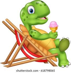 Cartoon turtle sitting on beach chair and holding an ice cream