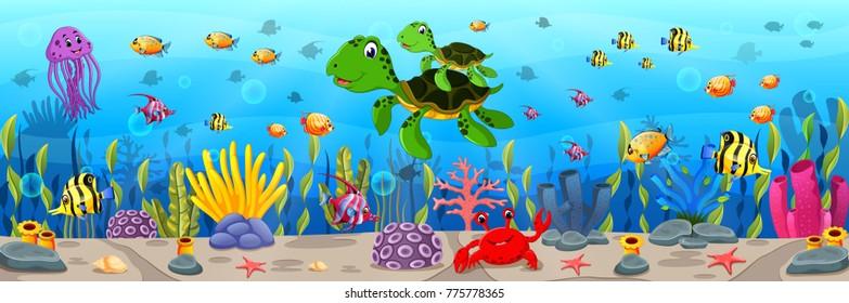 Cartoon-Schildkröte unter Wasser