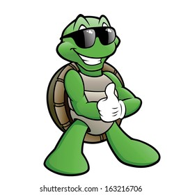 Cartoon turtle wearing sunglasses