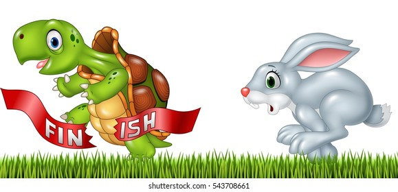 Cartoon a turtle win the race against a bunny
