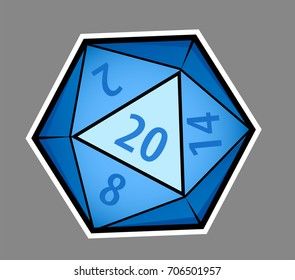 Cartoon twenty sided dice. Gray background on separate layer for easy editing & removal.