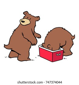 Cartoon of two bears raiding a picnic hamper or cooler.