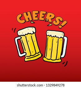 Cartoon of two beer mugs with the message cheers. Vector illustration.