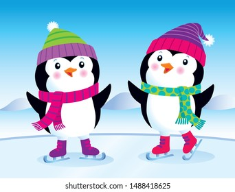 Cartoon of two cute baby penguins in knit hats and scarves with ice skates on.