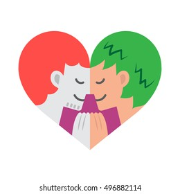 A cartoon of two gay lovers facing each other while holding hands forming a colorful heart shape.