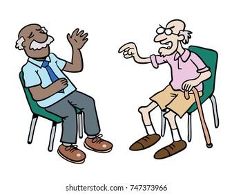 Cartoon of two grumpy old men having a debate