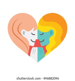 A cartoon of two lesbian lovers facing each other  while holding hands forming a colorful heart shape.