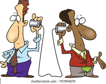 cartoon of two men both listening through a tin can and string phone