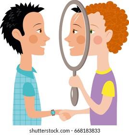 Cartoon two people talking mirror