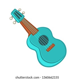 Cartoon ukulele illustration. Vector icon of ukulele isolated