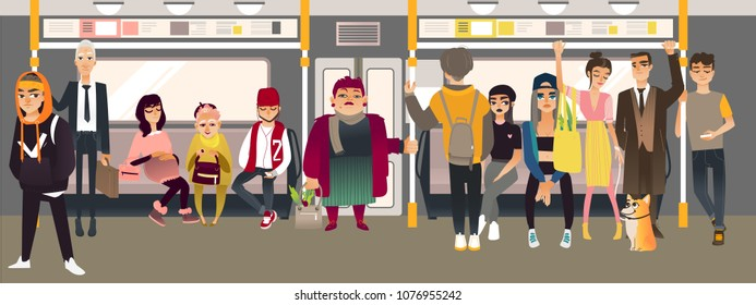 Cartoon underground subway passenger inside metro train scene. Men, women young and senior standing and sitting listening to music headphones, communicating. People in public transport vector concept.