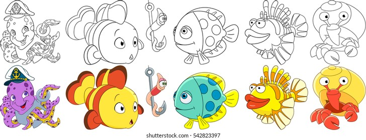 Cartoon underwater animals set. Octopus with anchor in a captain hat, clown fish, worm on a fishing hook, lion-fish, hermit crab with a shell. Coloring book pages for kids.