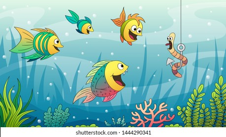 Cartoon underwater landscape with fishes. Hand drawn vector illustration with separate layers.