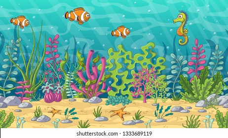 Cartoon underwater landscape. Seamless illustration with separate layers.