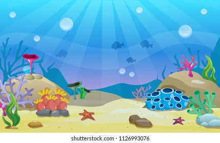 Cartoon underwater vector illustration. Undersea world. Ocean bottom with sand, shells, stones and sea weeds. Aquarium background for game design