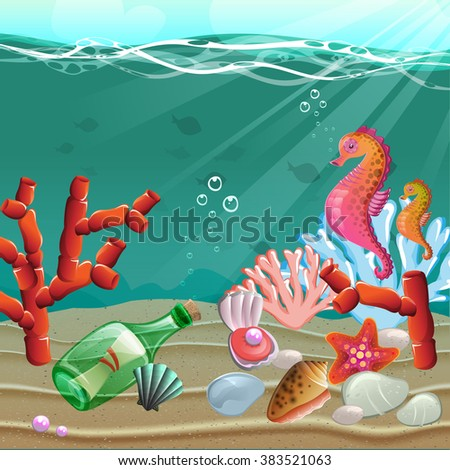 cartoon underwater world coral reefs shells stock vector royalty