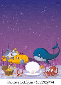 Cartoon underwater world with corals, fish and ocean creatures.
