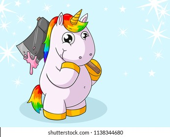 Cartoon unicorn with an axe and chewing gum