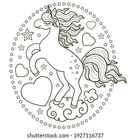 Cartoon unicorn with a heart in a frame of stars. Black and white, linear illustration. For coloring. Suitable for kids' design of coloring books, prints, posters, postcards, stickers, etc. Vector
