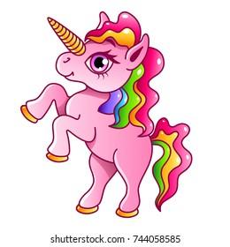 Cartoon unicorn isolated on white vector illustration