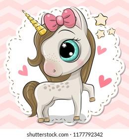Cartoon Unicorn on a pink background