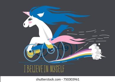 Cartoon unicorn on a wheelchair with rainbow trail and motivation text