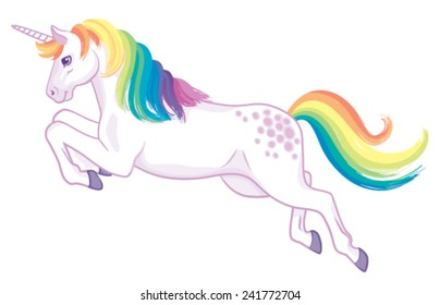 A cartoon unicorn with rainbow mane and tail standing jumping or flying.