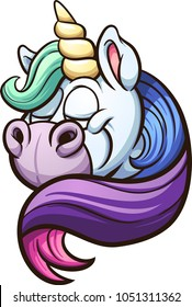 Cartoon unicorn with rainbow mane. Vector clip art illustration with simple gradients. All in a single layer.