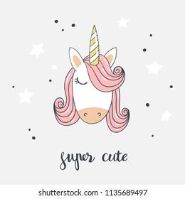 Cartoon unicorn with stars and inscription Super cute. Vector illustration.